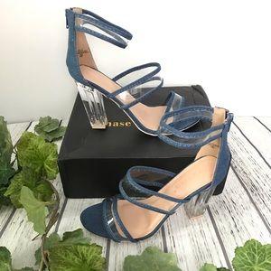 Chase + Chloe Denim Clear Chunk Heel Sandals